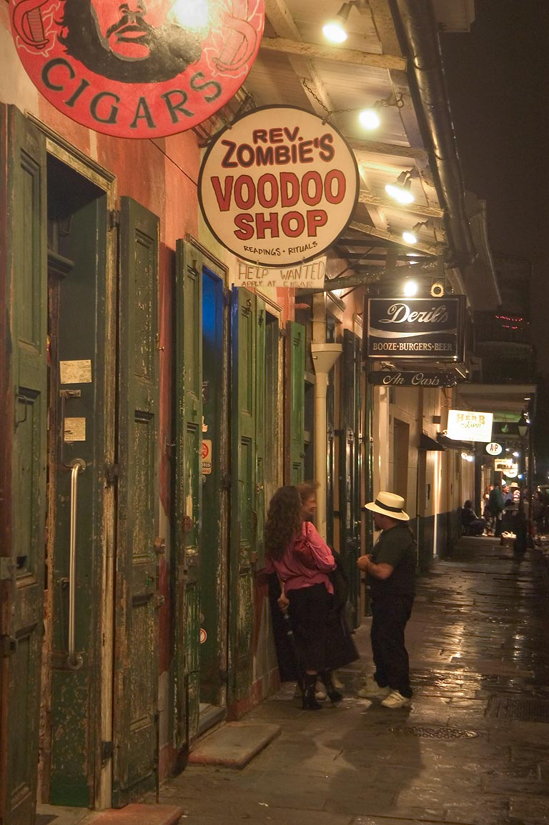Tourist shops in French Quarter, near Bourbon Street at evening. New Orleans, Louisiana