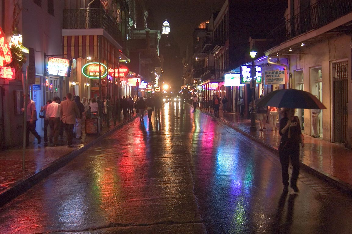 Bourbon Street near Iberville St. at evening. New Orleans, Louisiana