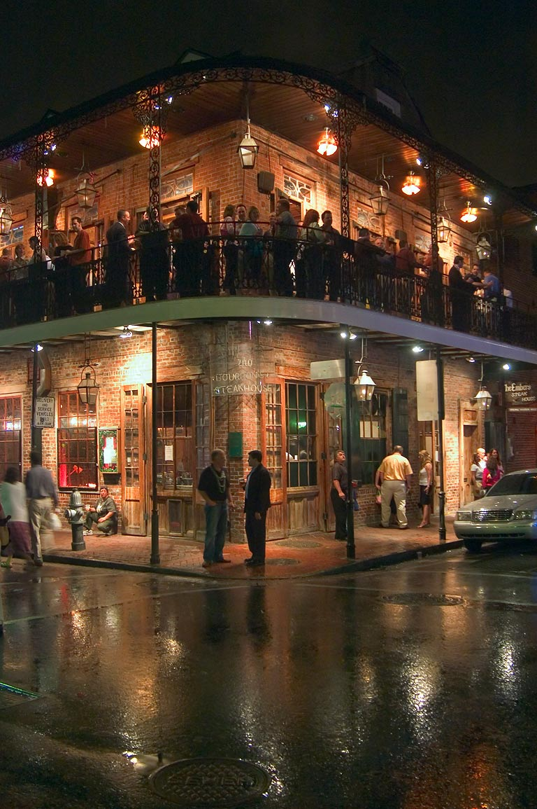 Ember's Steak House and Restaurant on Bourbon...rainy evening. New Orleans, Louisiana