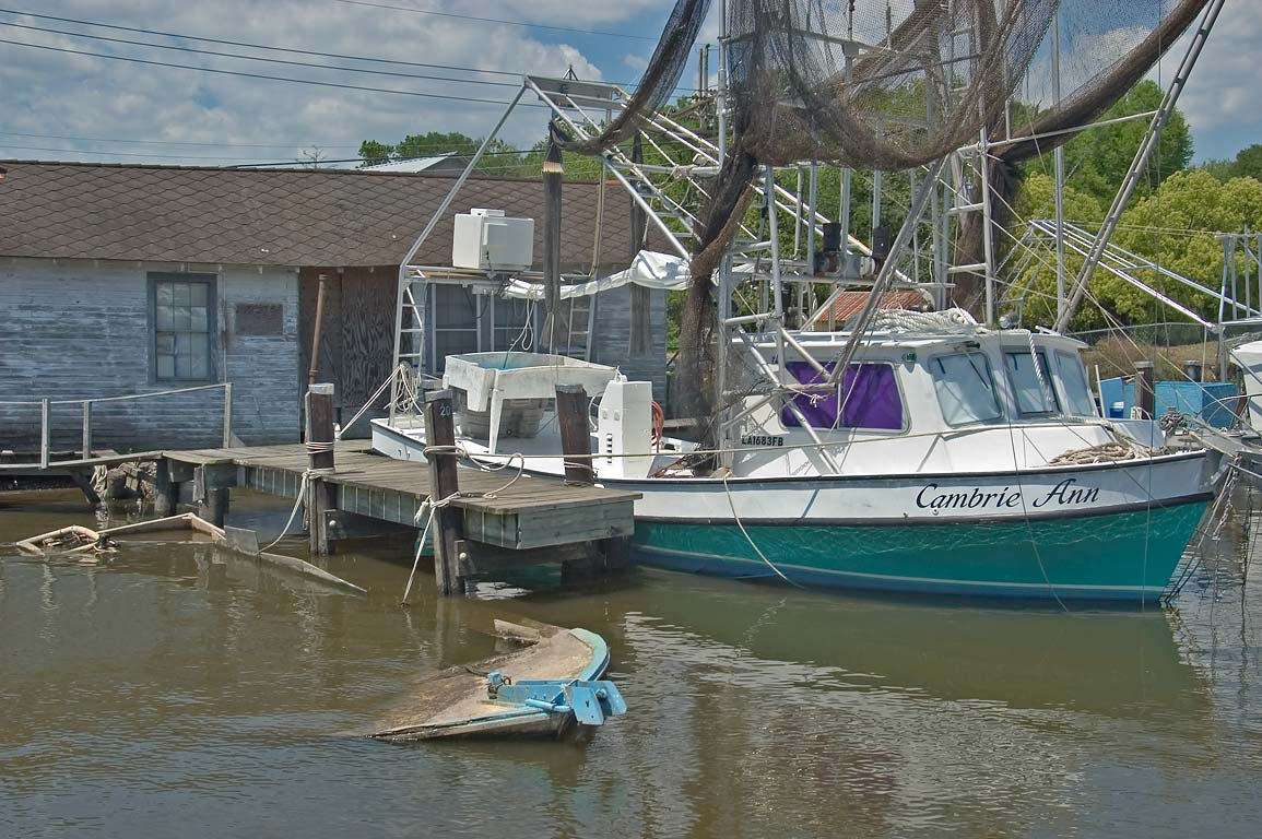 Fishing boats docked in Bayou Segnette near Louisiana Ave.. New Orleans, Louisiana