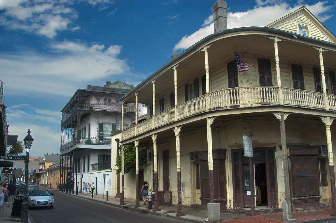 Corner of Dauphine and St.Peter St. in French Quarter. New Orleans, Louisiana