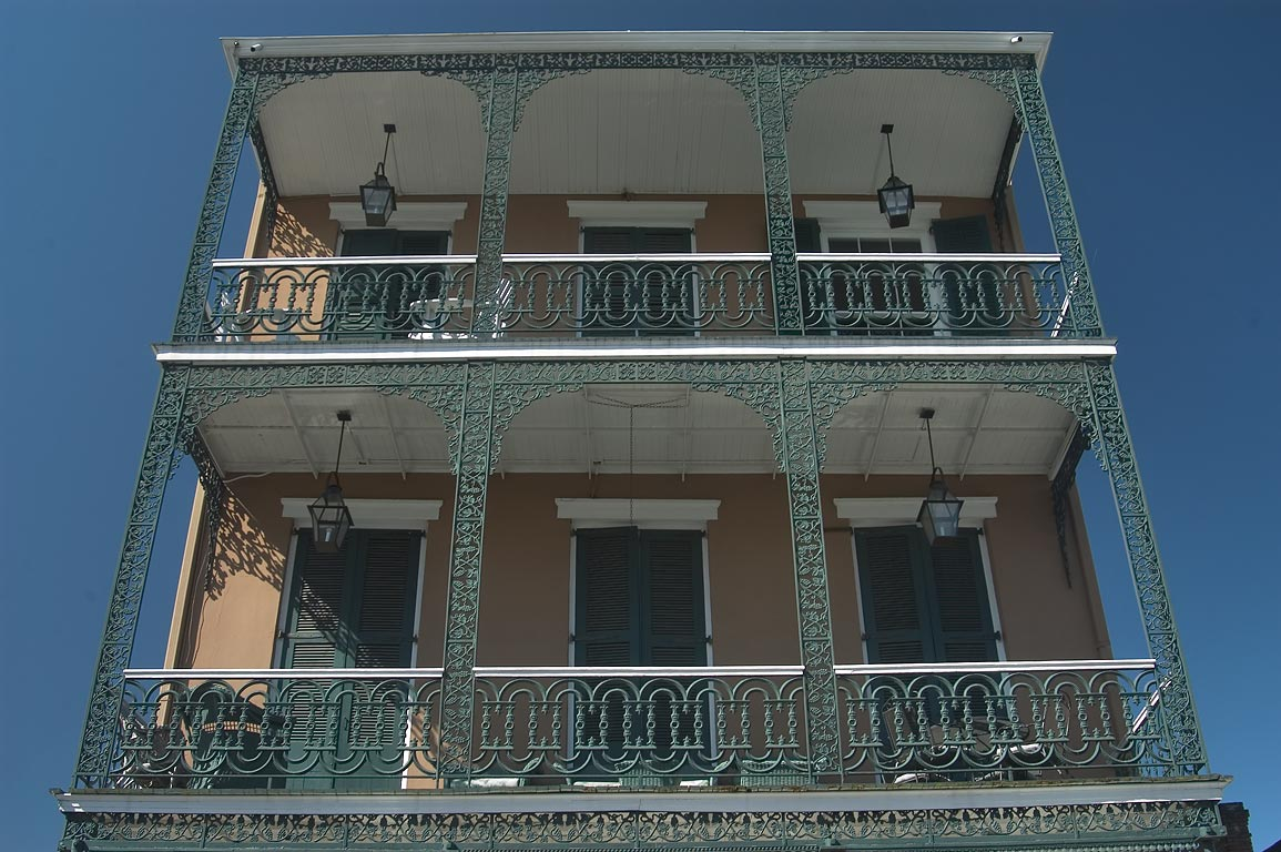 Iron balconies in French Quarter. New Orleans, Louisiana