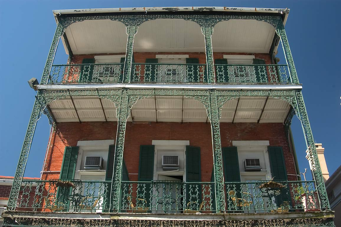 Cast iron balconies in French Quarter. New Orleans, Louisiana