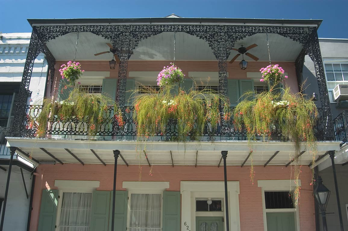 Cast iron balconies in French Quarter in Chartres Street. New Orleans, Louisiana