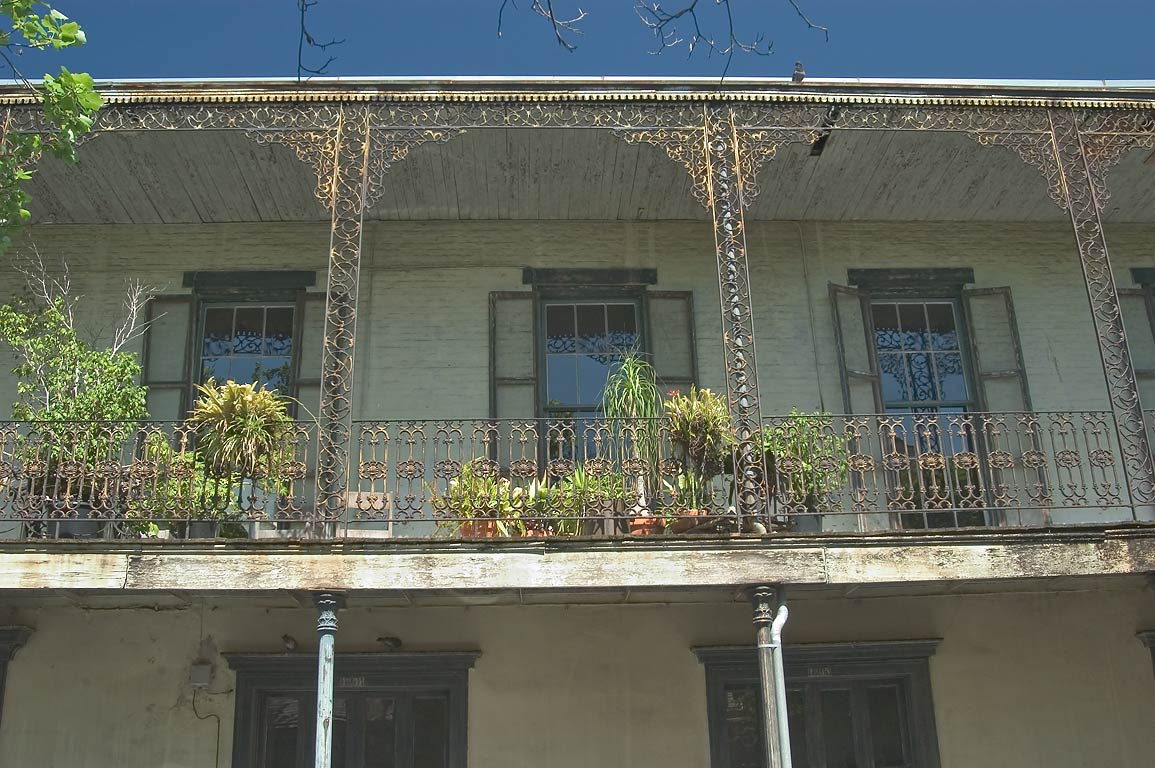 Balconies of Dureau Studio and residence in French Quarter. New Orleans, Louisiana
