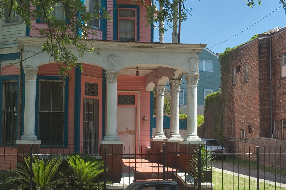 Columns of a house at 1913 Esplanade Ave.. New Orleans, Louisiana