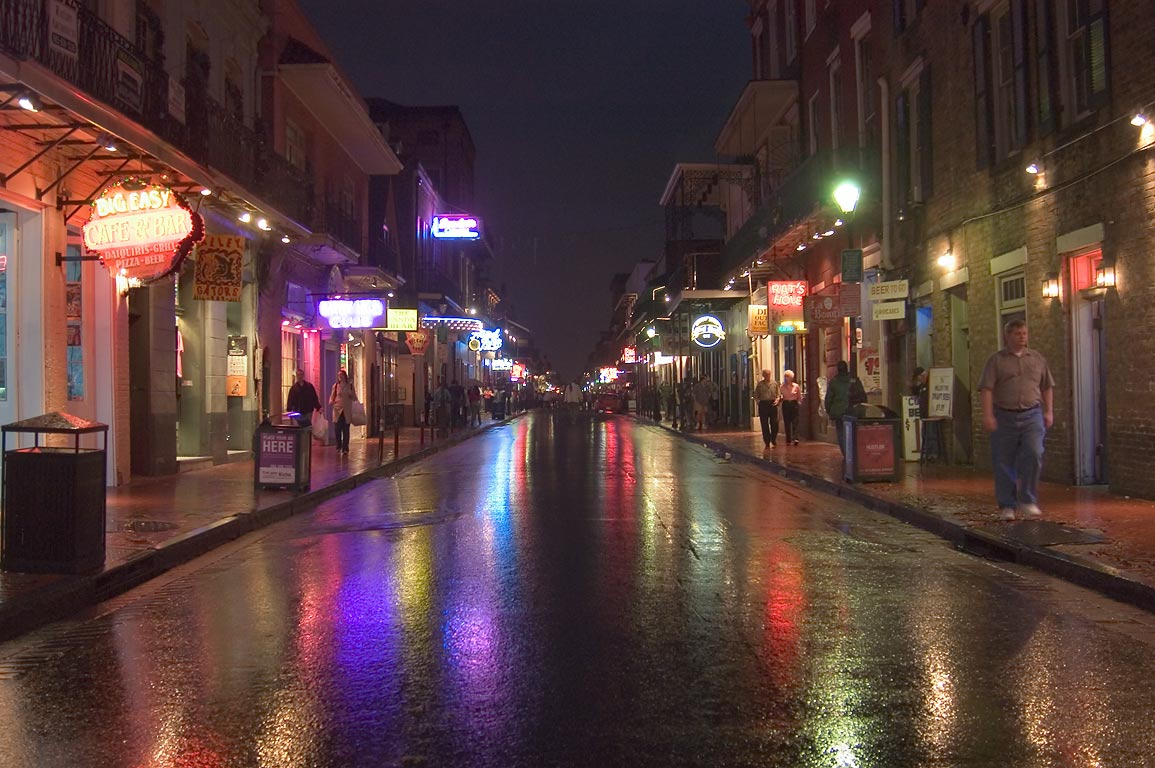 Bourbon Street near Conti Street at evening. New Orleans, Louisiana