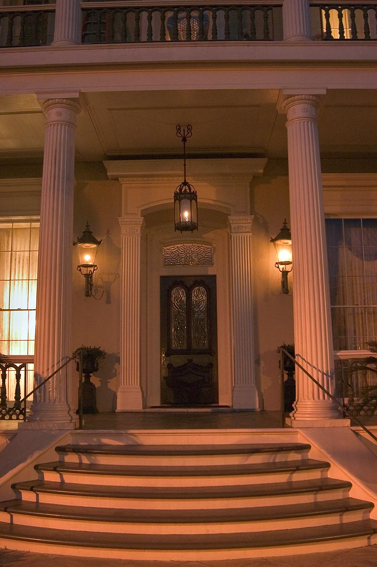 Front porch of Robinson House at 1415 3rd St. in Garden District. New Orleans, Louisiana