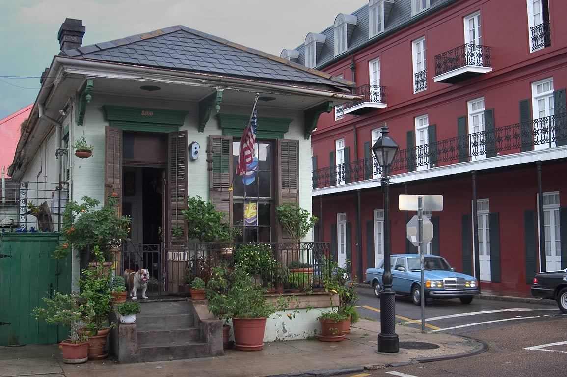 A corner of Chartres and Barracks streets in French Quarter. New Orleans, Louisiana