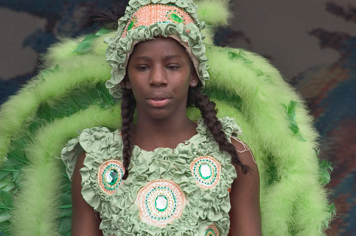 Golden Arrows Mardi Gras Indians during Jazzfest. New Orleans, Louisiana