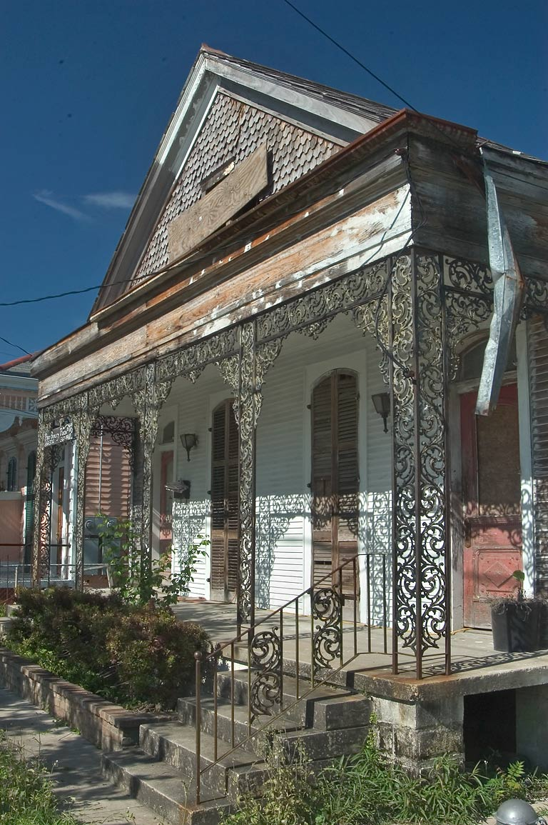 An abandoned double shotgun house on Elmira St...Algiers Point. New Orleans, Louisiana