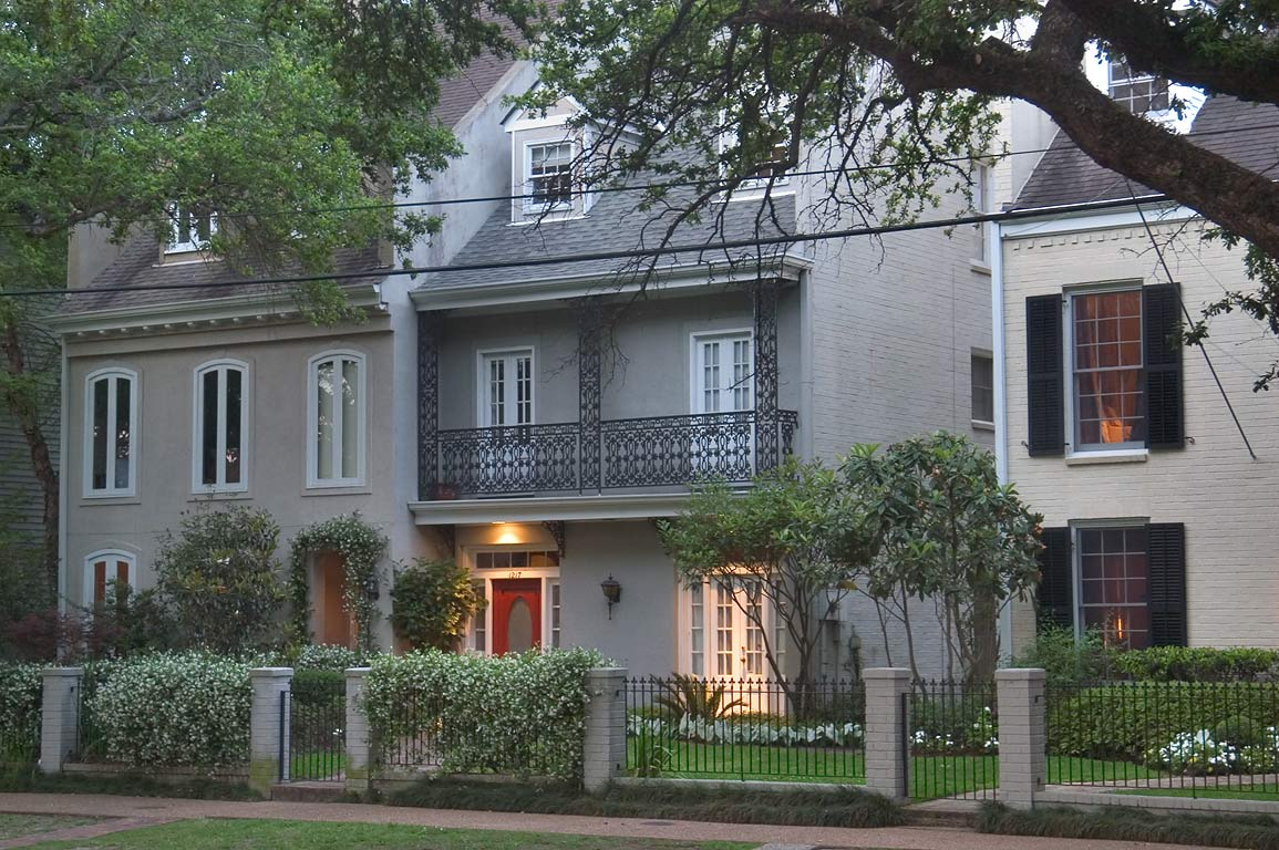 Townhouses on Washington Ave. in Garden District. New Orleans, Louisiana