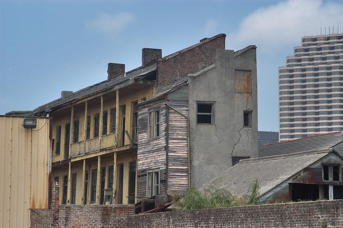 Abandoned houses near Camp St., view from a...District. New Orleans, Louisiana