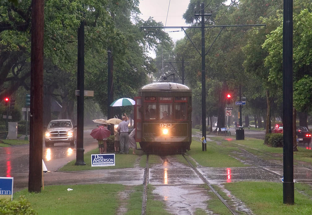 St.Charles Ave. streetcar (trolley) unloading...Calhoun St.. New Orleans, Louisiana
