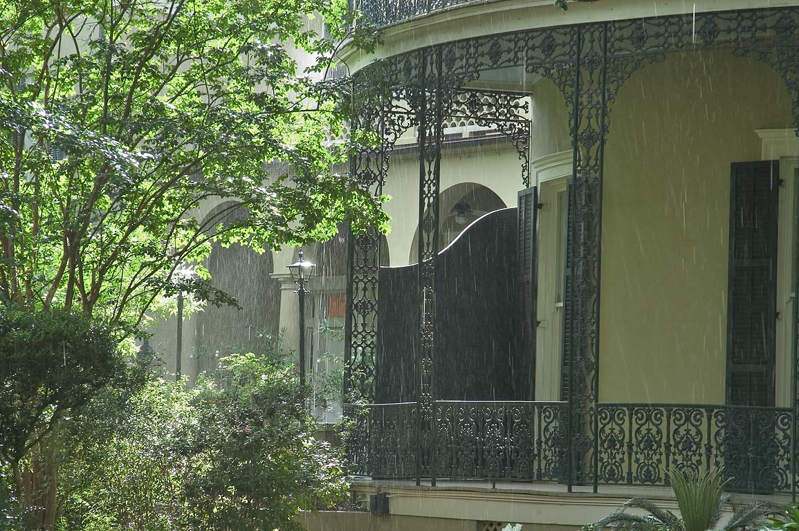 A side of Colonel Short's Villa in Garden District at rain. New Orleans, Louisiana