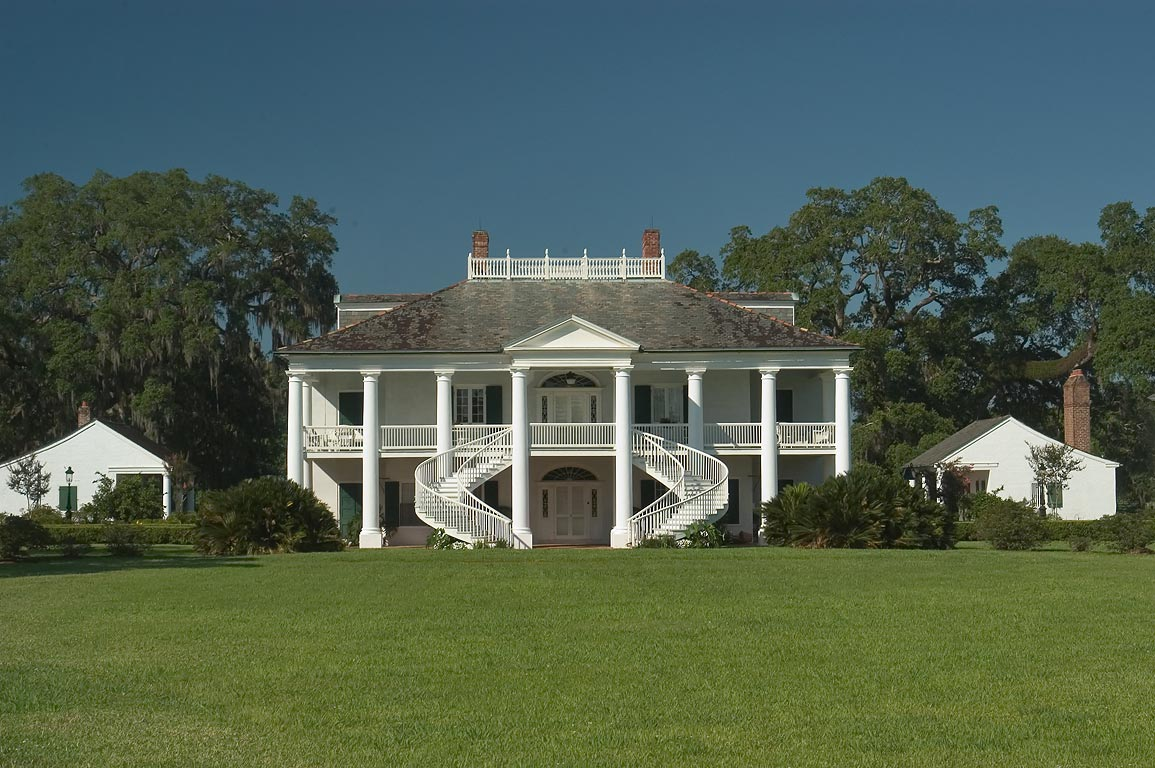 Evergreen plantation, view from Old River Rd.. West from New Orleans, Louisiana