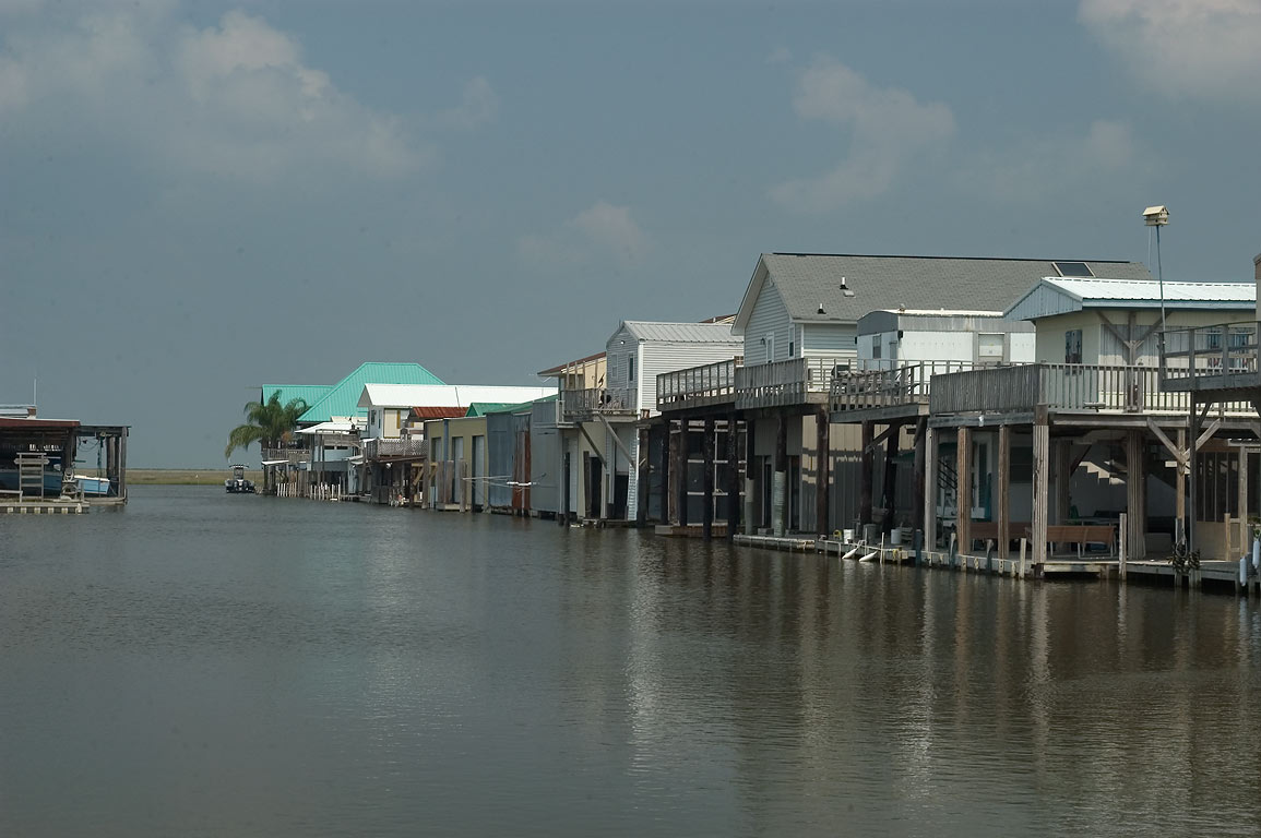 A canal in Cocodrie near Pier 1 St., Terrebonne Parish. Louisiana