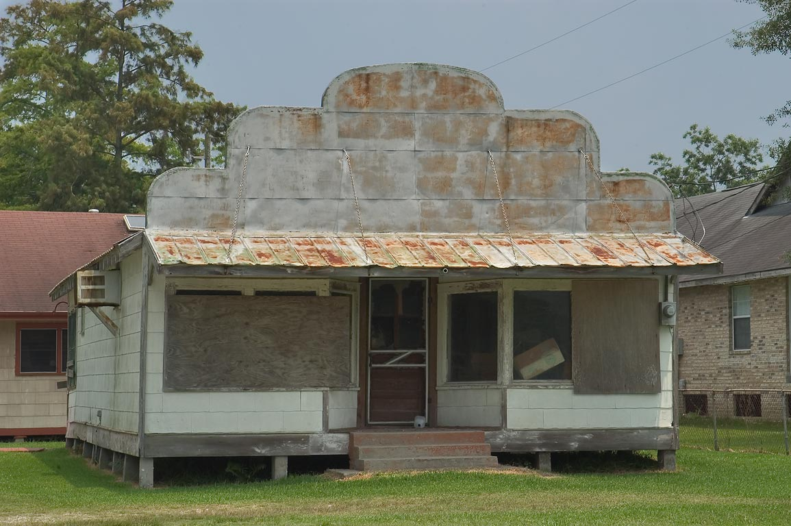 Abandoned seafood store near Rd. 57 (Grand Caillou), Terrebonne Parish. Dulac, Louisiana