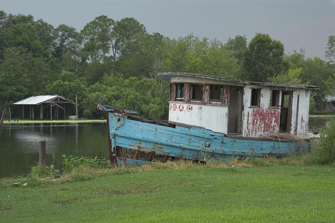 "PGAC"" boat in Bayou Grand Caillou, view from Rd. 57, Terrebonne Parish. Dulac, Louisiana"