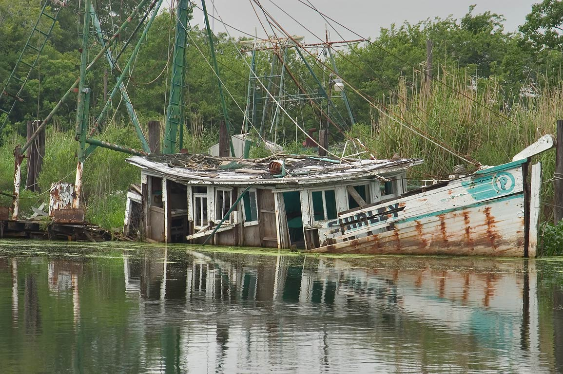 "Remains of ""Shirley"" fishing ship in Bayou Grand...Rd. 57, Terrebonne Parish. Louisiana"