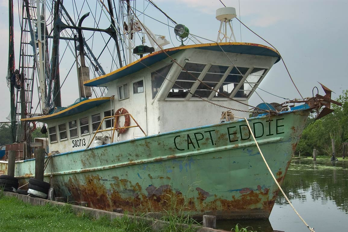 "Capt. Eddie"" fishing boat in Bayou Grand Caillou near Rd. 57, Terrebonne Parish. Louisiana"