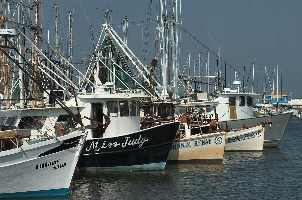 Fishing boats in docks of Long Beach. Mississippi
