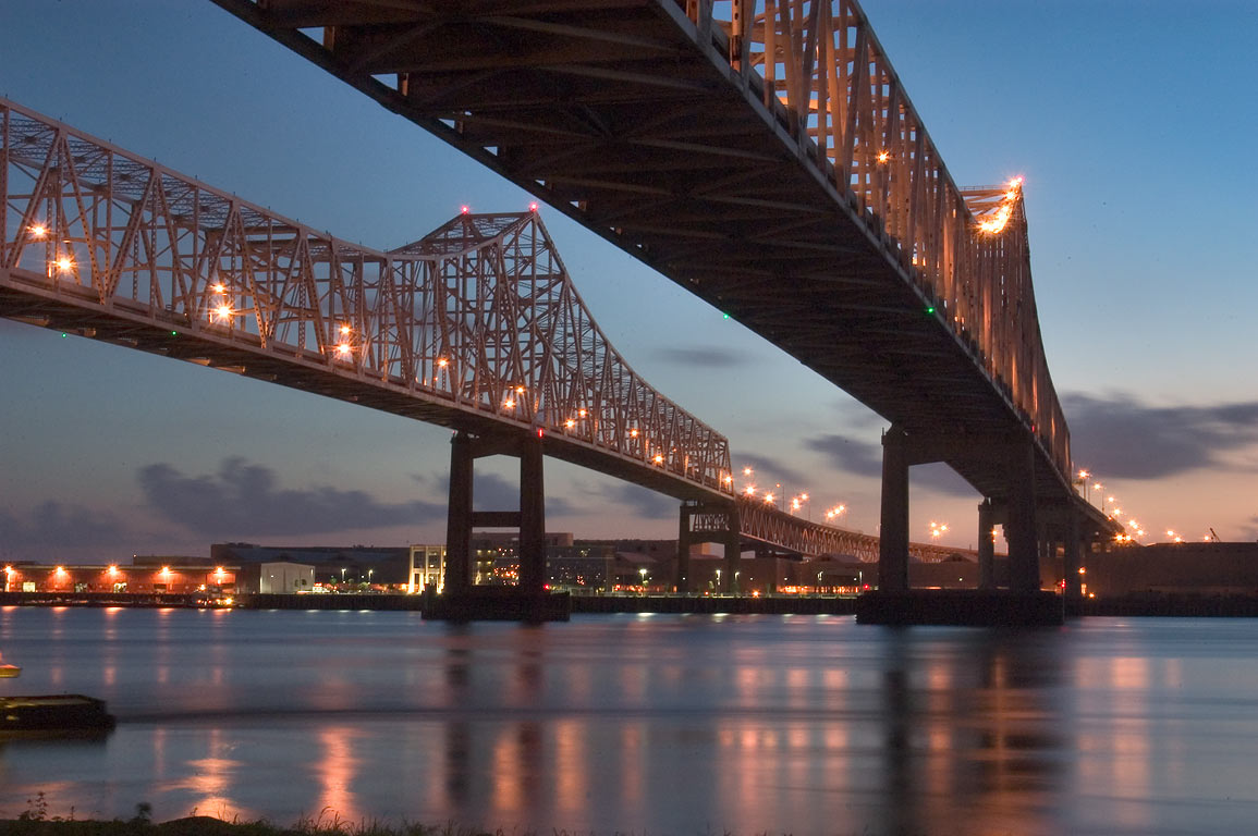 Crescent City Connection Bridge at dusk, view...in Algiers. New Orleans, Louisiana