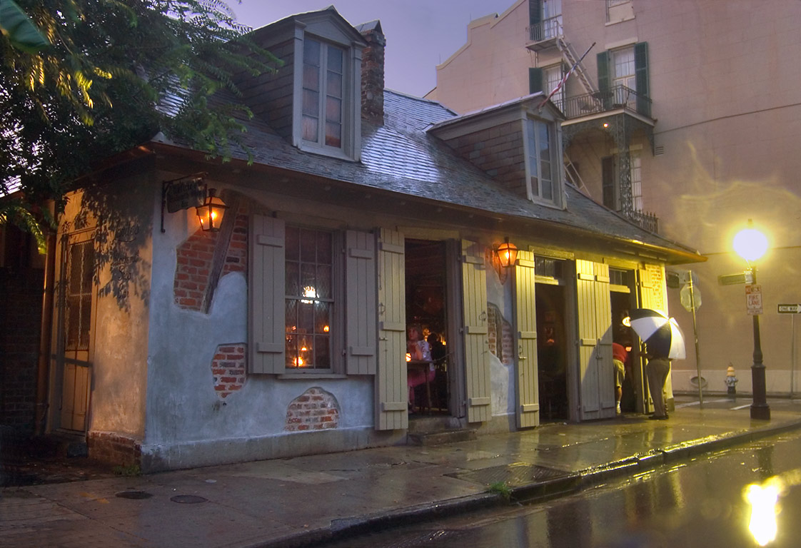 Lafitte's Blacksmith Shop on the corner of...St. at rain. New Orleans, Louisiana