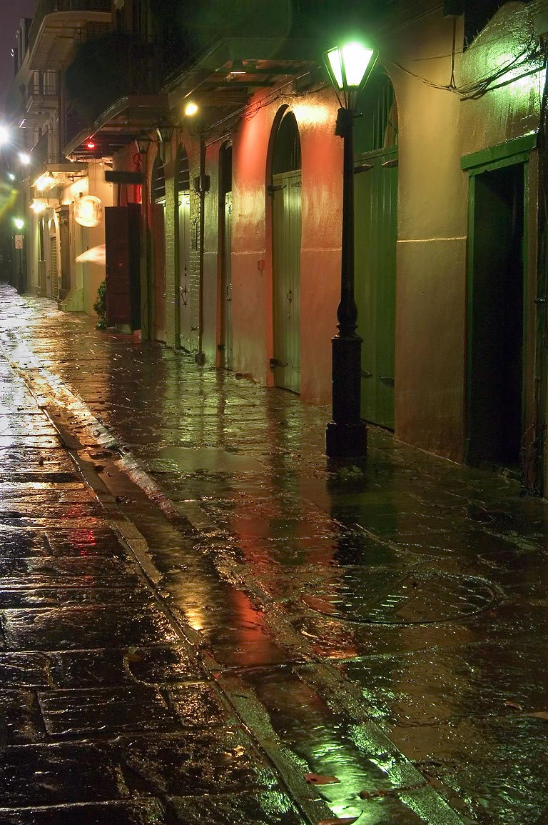 Pirates Alley, looking from Royal St. toward...tropical storm. New Orleans, Louisiana