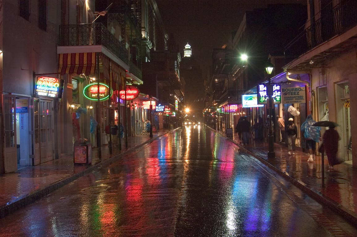 Bourbon Street near Iberville St. during a tropical storm. New Orleans, Louisiana