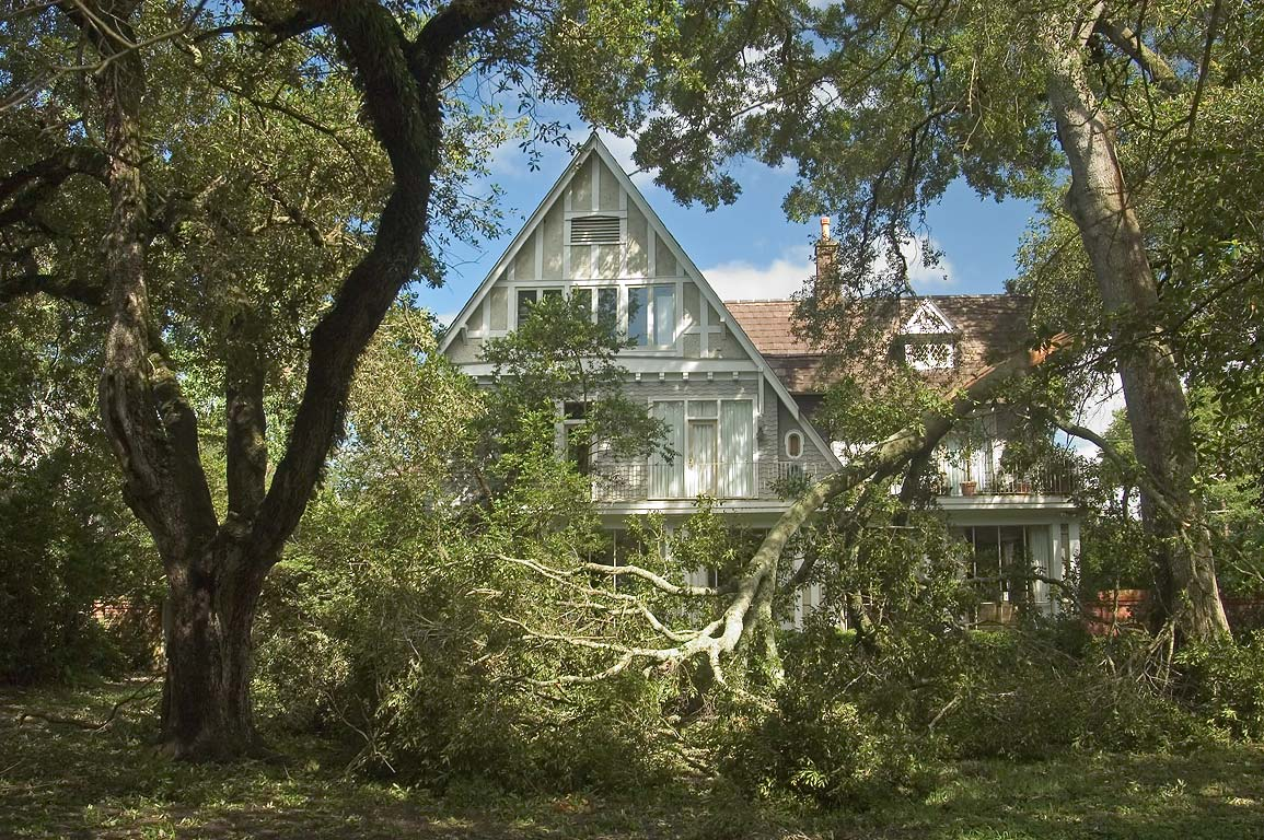 A house at Walnut St. with a tree broken by a...Audubon Park. New Orleans, Louisiana
