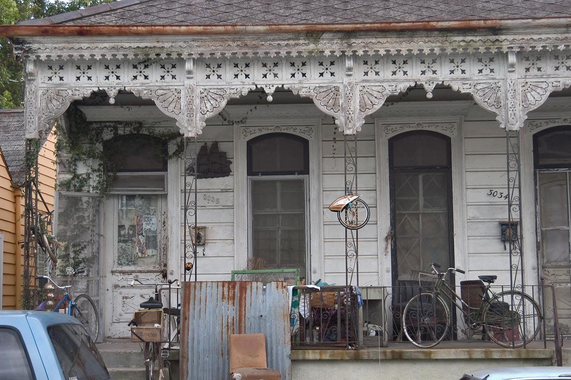 Bicycles and a house at 3034-3036 North Rampart St. in Bywater. New Orleans, Louisiana