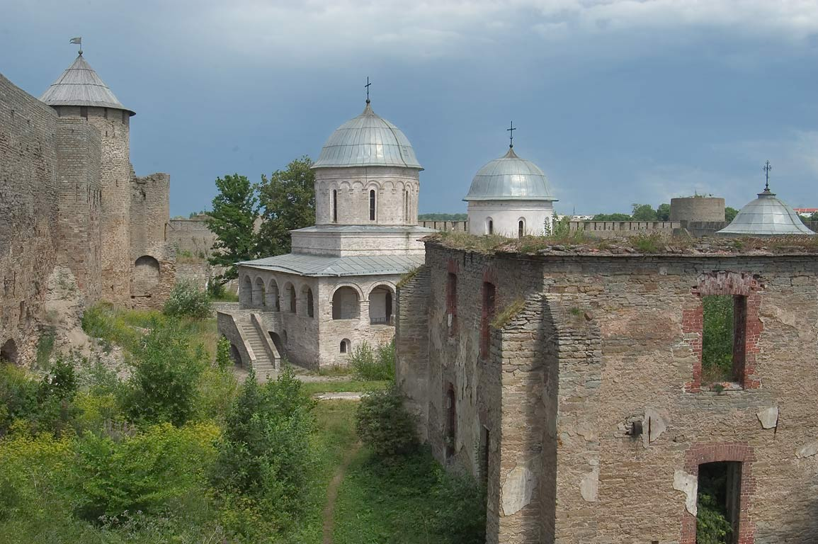 Ruins of barracks and churches of Ivangorod Fortress. Leningrad Region, Russia