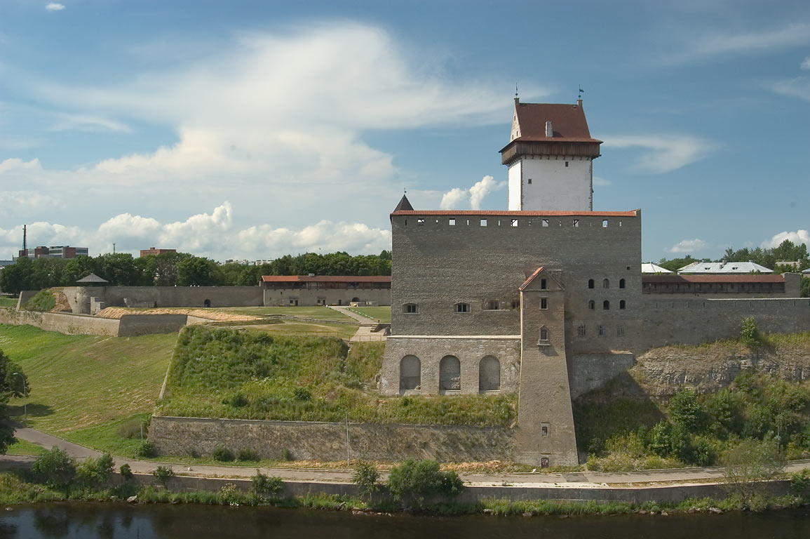 Long Hermann tower in Medieval Hermann's castle...Fortress. Leningrad Region, Russia