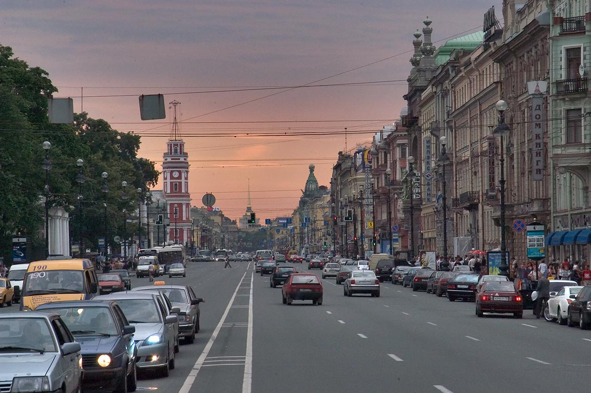 Nevsky Prospect at evening. St.Petersburg, Russia