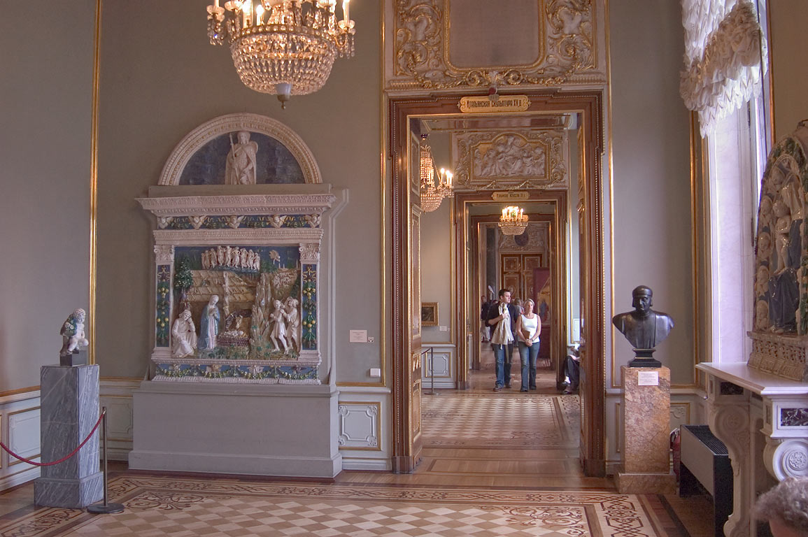 A corridor and Italian sculpture and art in Hermitage Museum. St.Petersburg, Russia
