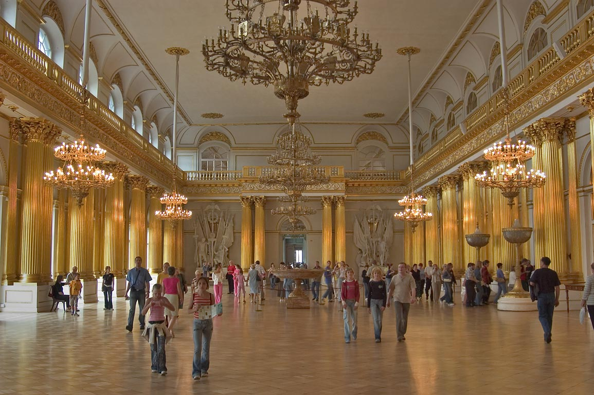 Armorial Hall (Gerbovy, Emblem) in Hermitage Museum. St.Petersburg, Russia