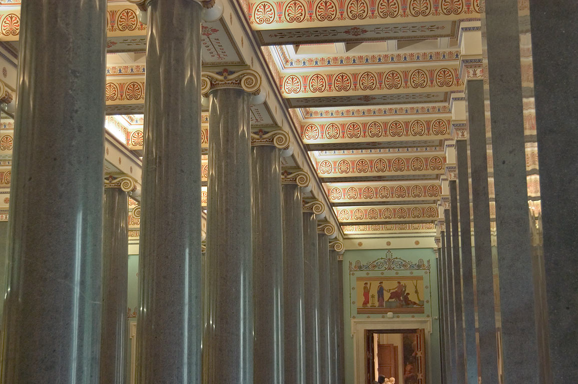 The Hall of Twenty Columns (ancient art) in Hermitage Museum. St.Petersburg, Russia