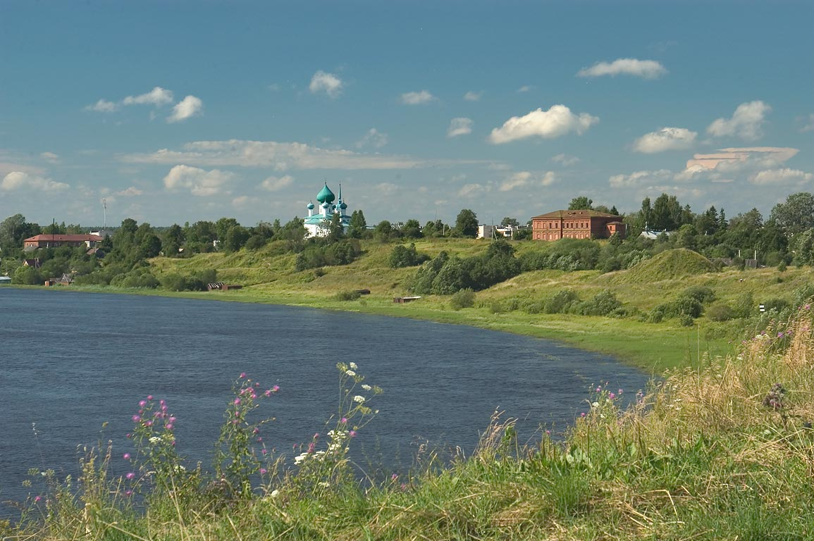Volkhov River near Staraya Ladoga, view from the...miles east from St.Petersburg. Russia