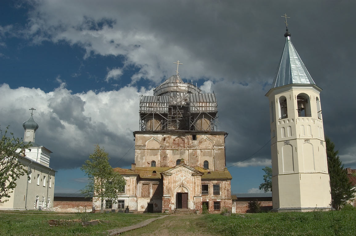Ruins of Trinity Church and bell tower in Zelenets Monastery. Leningrad Region, Russia