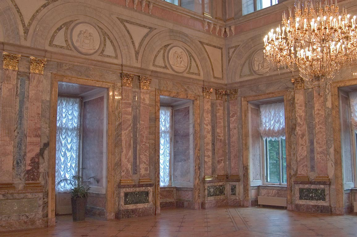 A hall in Marble Palace. St.Petersburg, Russia