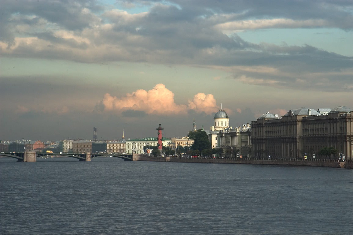 Neva River and Vasilievsky Ostrov, view from...neighborhood. St.Petersburg, Russia