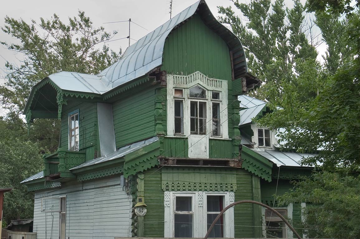 A wooden house at 64 Kommunarov St. in Sestroretsk, suburb of St.Petersburg. Russia