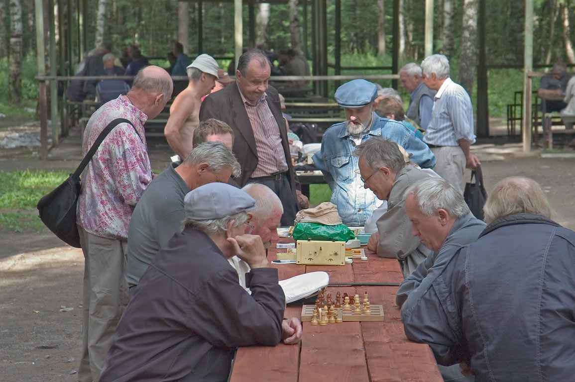 Retired persons playing chess in Sosnovka Park. St.Petersburg, Russia