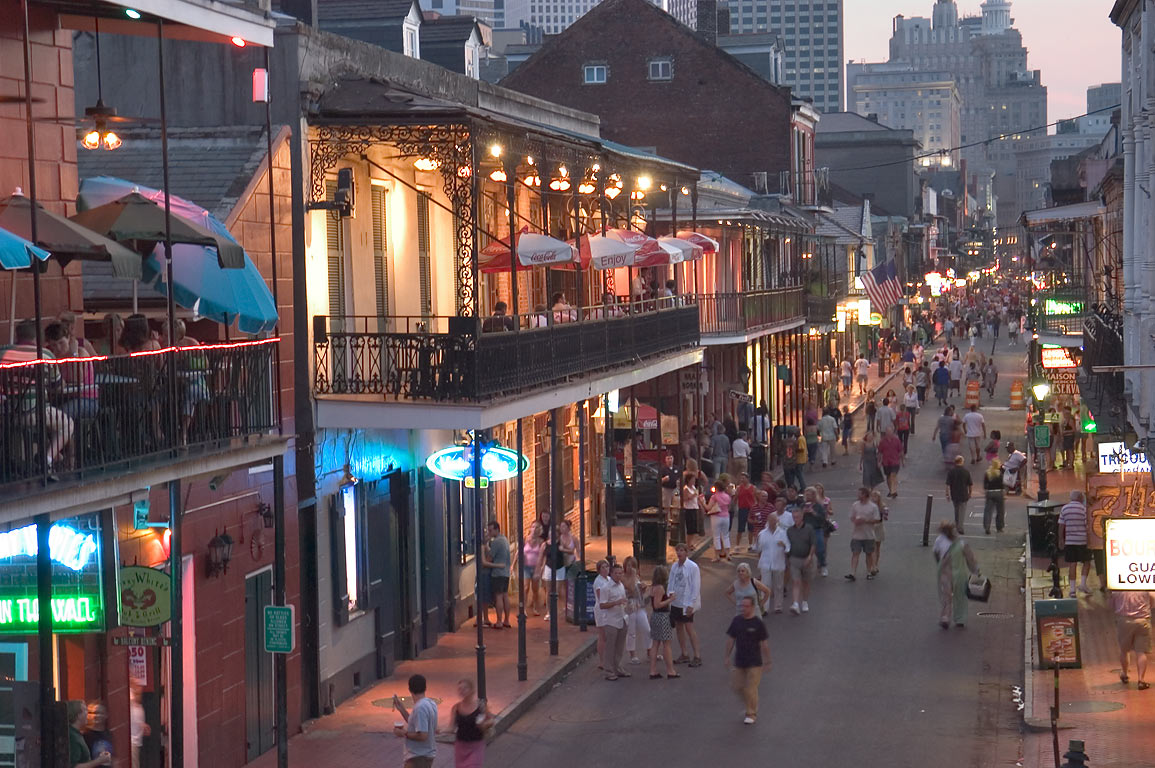 Bourbon Street at Saturday evening (a day before...on Orleans St.. New Orleans, Louisiana