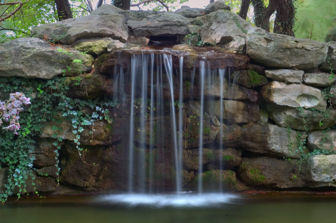 Waterfall in Shelter Insurance Gardens. Columbia, Missouri