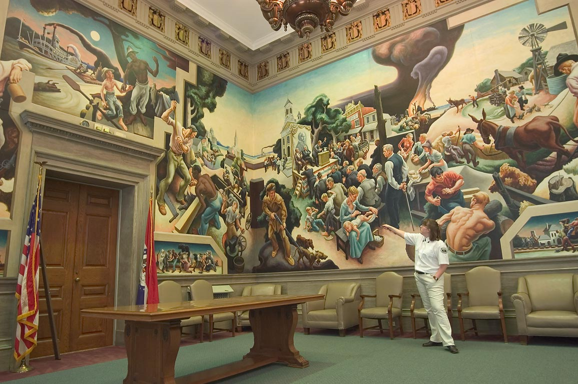 A tour of Thomas Hart Benton murals in the House...Capitol. Jefferson City, Missouri