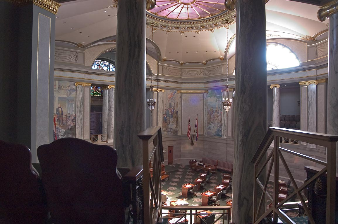 Upper Senate Chamber in Missouri State Capitol. Jefferson City, Missouri