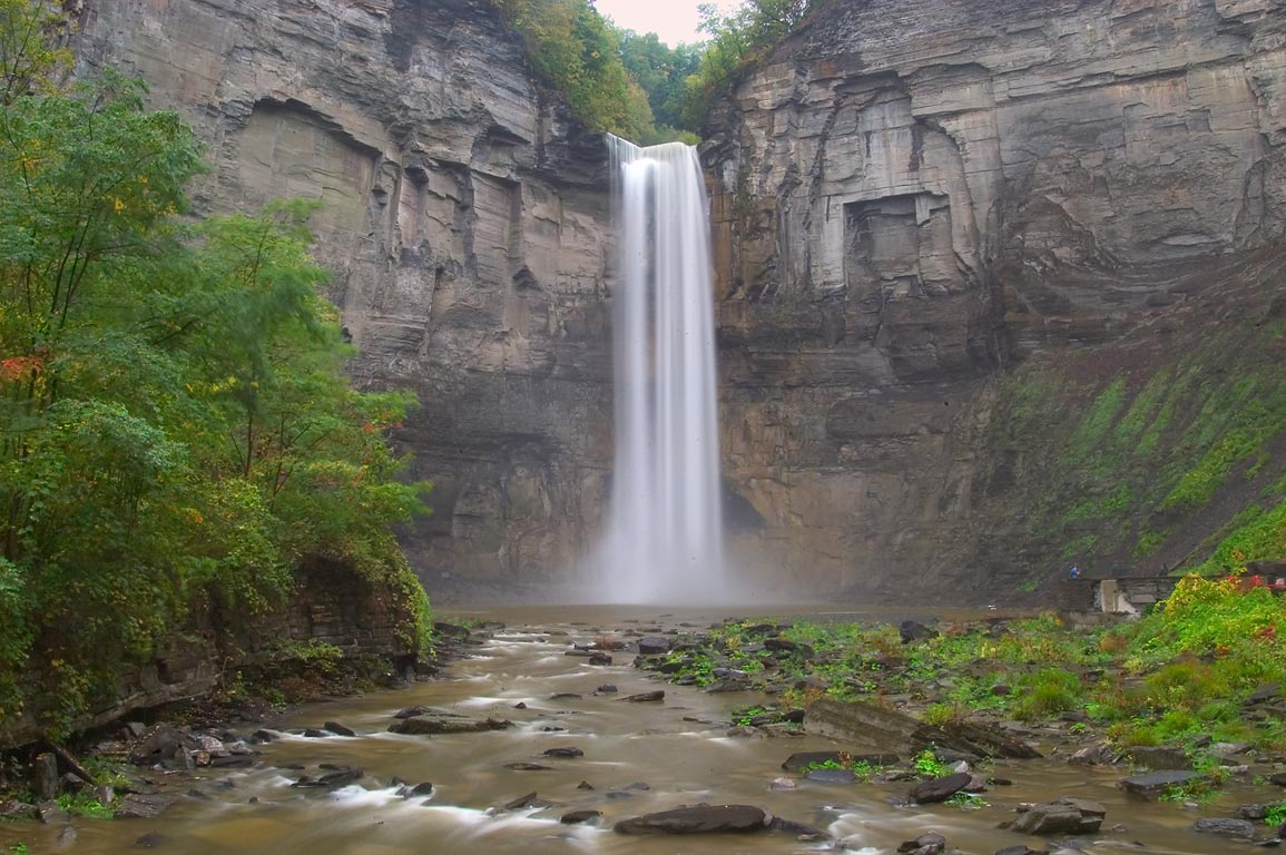 Upper Taughannock Falls near Ithaca, view from a foot bridge. New York