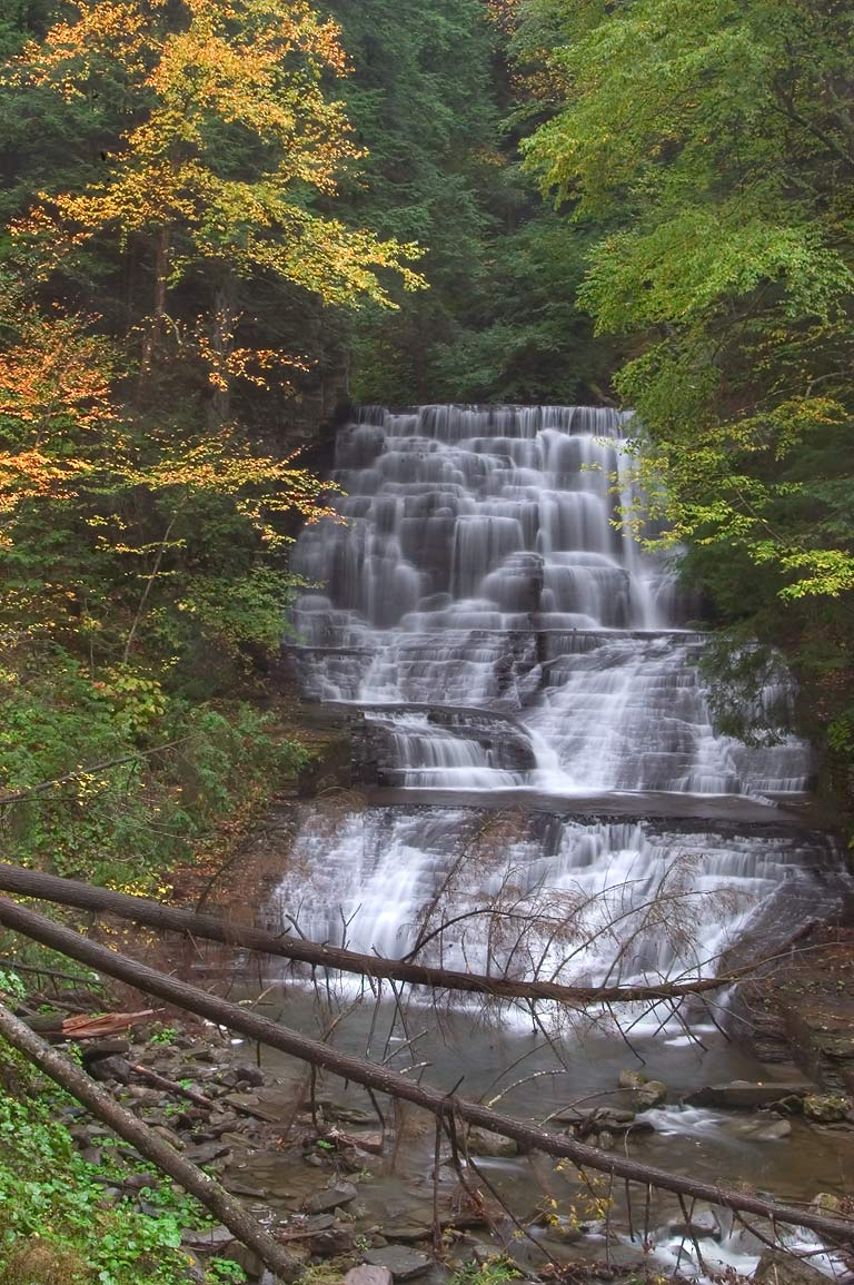 A waterfall under the dam in Fillmore Glen State Park. Moravia, New York